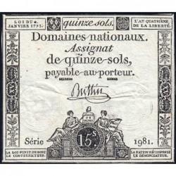 Assignat 24a - 15 sols - 4 janvier 1792 - Série 1981 - Etat : TB+