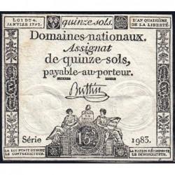 Assignat 24a - 15 sols - 4 janvier 1792 - Série 1983 - Etat : TB+