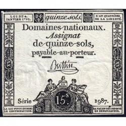 Assignat 24a - 15 sols - 4 janvier 1792 - Série 1987 - Etat : TTB+