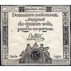Assignat 24a - 15 sols - 4 janvier 1792 - Série 1990 - Etat : TTB
