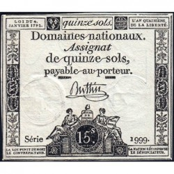 Assignat 24a - 15 sols - 4 janvier 1792 - Série 1999 - Etat : SUP