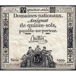 Assignat 24a - 15 sols - 4 janvier 1792 - Série 1999 - Etat : TB+