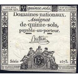 Assignat 24a - 15 sols - 4 janvier 1792 - Série 1673 - Etat : TB+