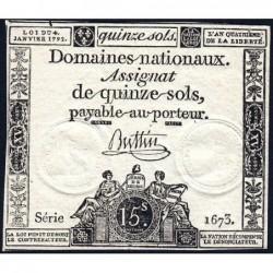 Assignat 24a - 15 sols - 4 janvier 1792 - Série 1673 - Etat : TTB