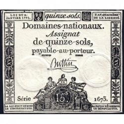 Assignat 24a - 15 sols - 4 janvier 1792 - Série 1673 - Etat : TTB+
