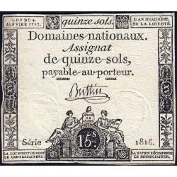 Assignat 24a - 15 sols - 4 janvier 1792 - Série 1816 - Etat : TB+