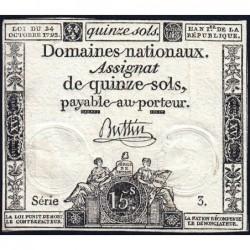 Assignat 35a - 15 sols - 24 octobre 1792 - Série 3 - Etat : TTB
