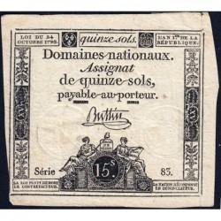 Assignat 35a - 15 sols - 24 octobre 1792 - Série 83 - Etat : TB+