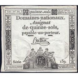 Assignat 35a - 15 sols - 24 octobre 1792 - Série 139 - Etat : TTB+