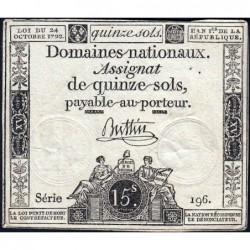 Assignat 35a - 15 sols - 24 octobre 1792 - Série 196 - Etat : TTB
