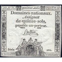 Assignat 35a - 15 sols - 24 octobre 1792 - Série 202 - Etat : TB+