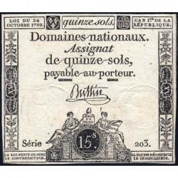 Assignat 35a - 15 sols - 24 octobre 1792 - Série 203 - Etat : TB+