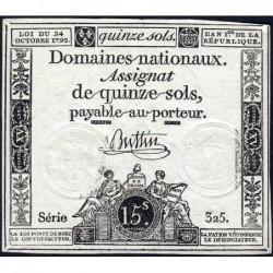 Assignat 35a - 15 sols - 24 octobre 1792 - Série 325 - Etat : TTB+