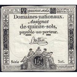 Assignat 35a - 15 sols - 24 octobre 1792 - Série 326 - Etat : TTB