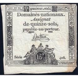 Assignat 35a - 15 sols - 24 octobre 1792 - Série 408 - Etat : TB