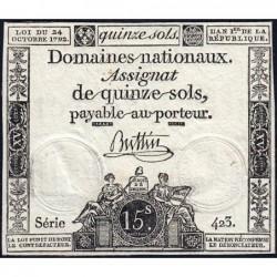 Assignat 35a - 15 sols - 24 octobre 1792 - Série 423 - Etat : TTB+