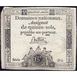 Assignat 35a - 15 sols - 24 octobre 1792 - Série 474 - Etat : TB+
