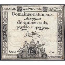 Assignat 35a - 15 sols - 24 octobre 1792 - Série 480 - Etat : TB