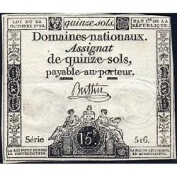 Assignat 35a - 15 sols - 24 octobre 1792 - Série 516 - Etat : TB+