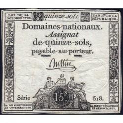 Assignat 35a - 15 sols - 24 octobre 1792 - Série 518 - Etat : TB+