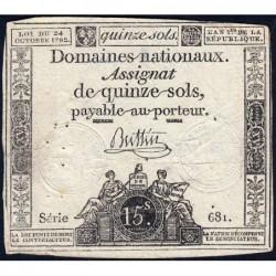 Assignat 35a - 15 sols - 24 octobre 1792 - Série 681 - Etat : TB