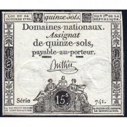 Assignat 35a - 15 sols - 24 octobre 1792 - Série 741 - Etat : TTB