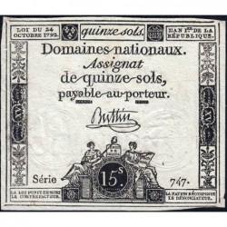 Assignat 35a - 15 sols - 24 octobre 1792 - Série 747 - Etat : TTB+
