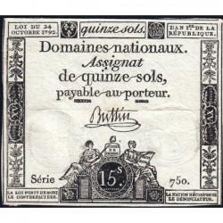 Assignat 35a - 15 sols - 24 octobre 1792 - Série 750 - Etat : TTB
