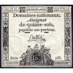 Assignat 35a - 15 sols - 24 octobre 1792 - Série 753 - Etat : TTB+