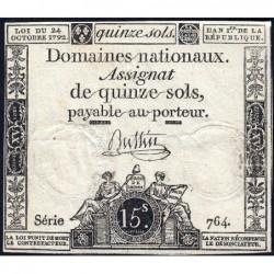 Assignat 35a - 15 sols - 24 octobre 1792 - Série 764 - Etat : TB+