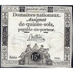 Assignat 35a - 15 sols - 24 octobre 1792 - Série 777 - Etat : TTB+