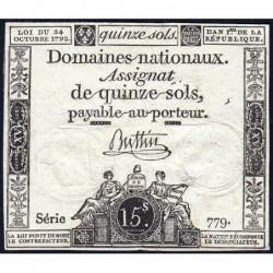 Assignat 35a - 15 sols - 24 octobre 1792 - Série 779 - Etat : TB+