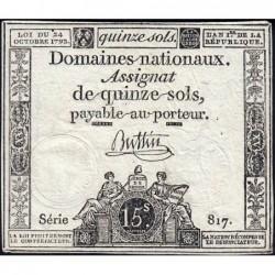 Assignat 35a - 15 sols - 24 octobre 1792 - Série 817 - Etat : TTB