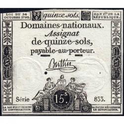 Assignat 35a - 15 sols - 24 octobre 1792 - Série 833 - Etat : TB