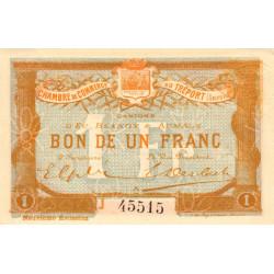 Le Tréport - Pirot 71-37 - 1 franc - Lettre A - Série J - 9e émission - 1917 - Etat : SPL