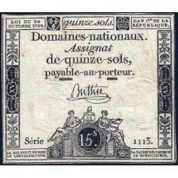 Assignat 35a - 15 sols - 24 octobre 1792 - Série 1113 - Etat : TB-