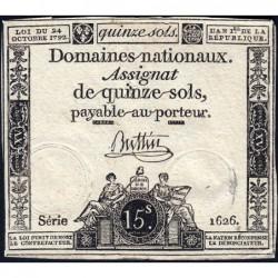Assignat 35a - 15 sols - 24 octobre 1792 - Série 1626 - Etat : TB+