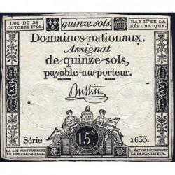 Assignat 35a - 15 sols - 24 octobre 1792 - Série 1633 - Etat : TB+