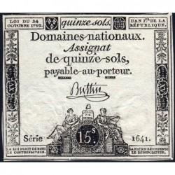 Assignat 35a - 15 sols - 24 octobre 1792 - Série 1641 - Etat : TTB+