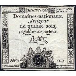 Assignat 35a - 15 sols - 24 octobre 1792 - Série 1641 - Etat : TTB