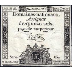 Assignat 35a - 15 sols - 24 octobre 1792 - Série 832 - Etat : SUP