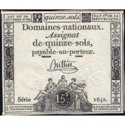 Assignat 35a - 15 sols - 24 octobre 1792 - Série 1642 - Etat : TTB