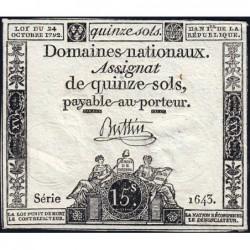 Assignat 35a - 15 sols - 24 octobre 1792 - Série 1643 - Etat : TTB