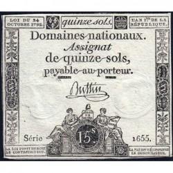 Assignat 35a - 15 sols - 24 octobre 1792 - Série 1655 - Etat : TTB+