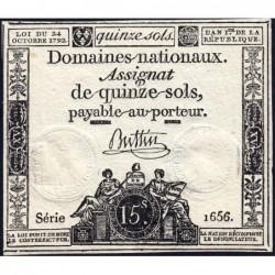 Assignat 35a - 15 sols - 24 octobre 1792 - Série 1656 - Etat : TTB