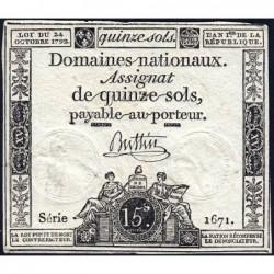 Assignat 35a - 15 sols - 24 octobre 1792 - Série 1671 - Etat : TTB