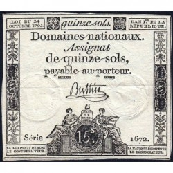 Assignat 35a - 15 sols - 24 octobre 1792 - Série 1672 - Etat : TTB+