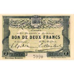 Le Tréport - Pirot 71-38 - 2 francs - Lettre A - Série J - 9e émission - 1917 - Etat : SPL