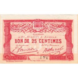 Le Tréport (Eu, Blangy, Aumale) - Pirot 71-39-K - 25 centimes - Petit numéro - 1918 - Etat : SUP+