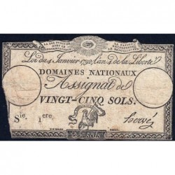 Assignat 25a - 25 sols - 4 janvier 1792 - Série 1 - Etat : B